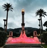 Frascati, si tinge di rosa la fontana del Monumento ai caduti per l'Ottobre della prevenzione